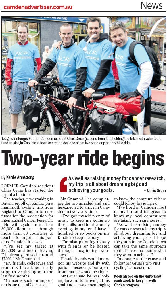 Cycling4Cancer Camden Advertiser article