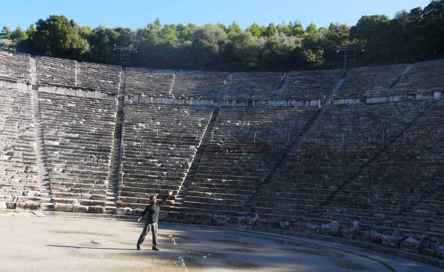 Trying out my oratory skills in the Theatre of Epidavros