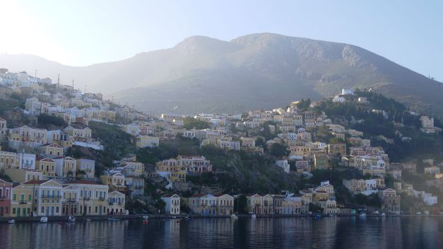 A view of Symi from the ferry from Rhodes to Kos