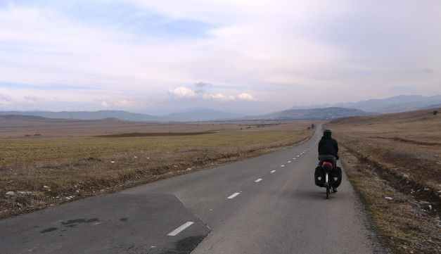 Riding through the mountain valley east of Gori