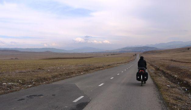 Riding through the mountain valley east of Gori