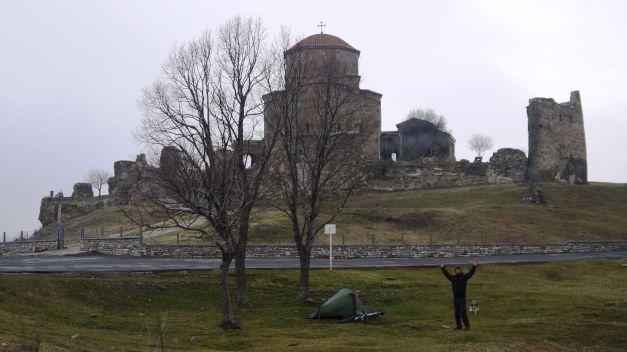 Camping beside Jvari Monastery