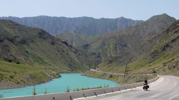 Daniel making his way along River Naryn