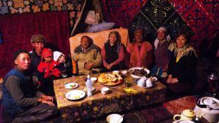 At dinner inside the yurt