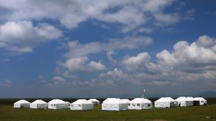 Traditional Tibetan tents out on the marshland