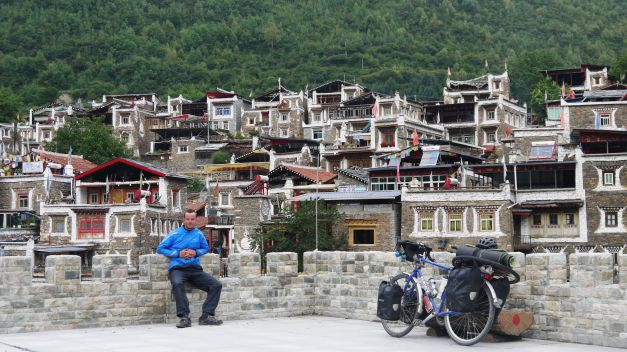 One of many of the picturesque Tibetan villages along the route southwards