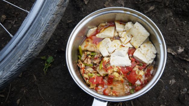 One of many delicious campsite meals; this time from a family who left a restaurant with plenty still to eat!