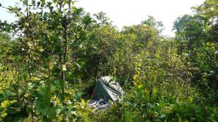 stealth camping beside the Ho Chi Minh Trail