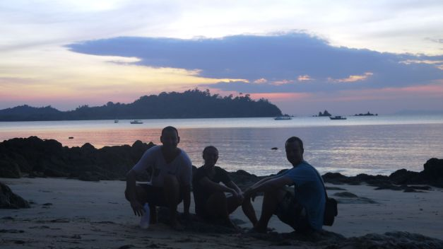 Sunset with Rob and Jen on Koh Phayam's Buffalo Bay
