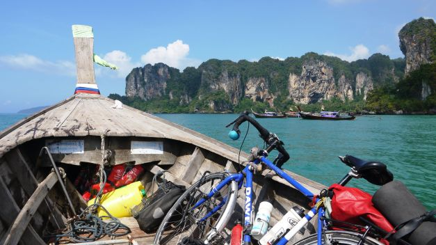 On the longtail boat approaching Railay