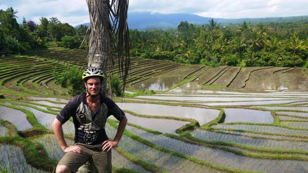 A moment off the bike to enjoy the rice terraces of Bali