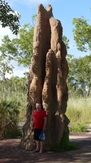 Dad stands beside a huge termite mound south of the city