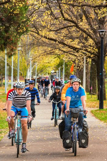 Riding around the ANU campus with staff, scientists and students of the campus