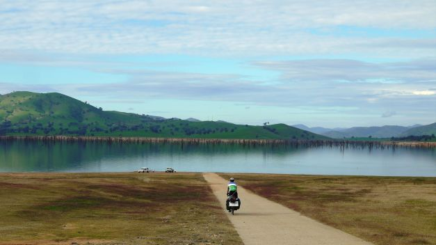 Descending along a boat ramp to Lake Hume
